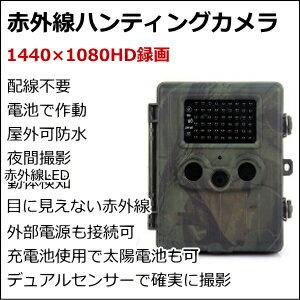 【送料無料】配線不要 ハンティングカメラ 太陽電池も使える 赤外線付き 動体感知【a】