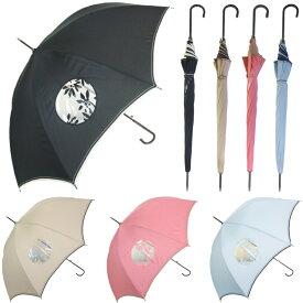 透明窓付きワンタッチジャンプ傘 レディース パッチワーク 雨傘 安全 8本骨 4色 60cm