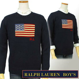 【全商品10%OFFクーポン】POLO by Ralph Lauren Boy'sUSAフラッグ コットンセーター【ラルフローレン ボーイズ】送料無料