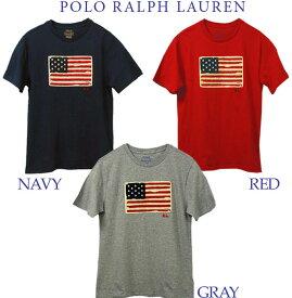 【全商品10%OFFクーポン】POLO by Ralph Lauren Boy's USAフラッグ 半袖Tシャツ【2019-Spring/NewColor】ラルフローレンTシャツUSAフラッグ ヴィンテージアップリケ Tシャツ