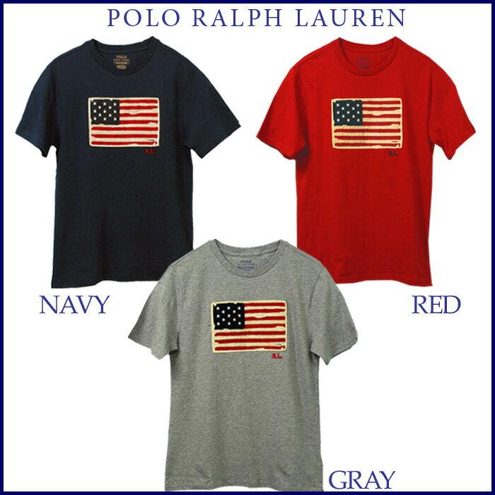【父の日 10%OFFクーポン】POLO by Ralph Lauren Boy's USAフラッグ 半袖Tシャツ【2019-Spring/NewColor】ラルフローレンTシャツUSAフラッグ ヴィンテージアップリケ Tシャツ