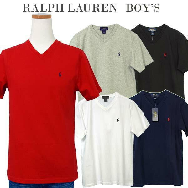 【父の日 10%OFFクーポン】POLO by Ralph Lauren Boy's 定番Vネック ポイント半袖Tシャツポロ ラルフローレン Tシャツ