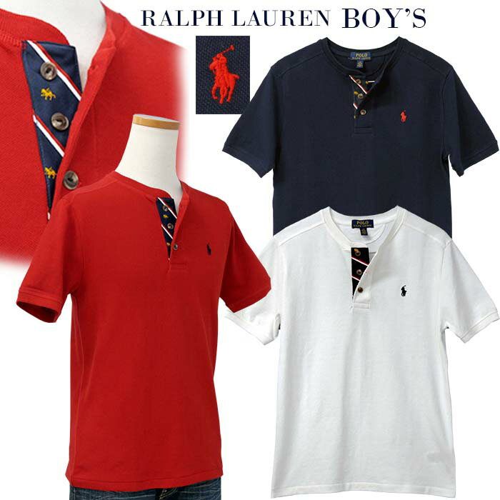 【父の日 10%OFFクーポン】POLO by Ralph Lauren Boy'sヘンリーネック半袖鹿の子Tシャツ【2019-Spring/NewModel】ラルフローレン半袖Tシャツ