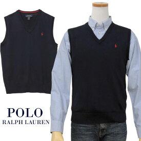 【全商品10%OFFクーポン】POLO by Ralph Lauren Boy's ピマコットン Vネック ベスト【2019-Fall/NewModel】【ラルフローレンボーイズ】