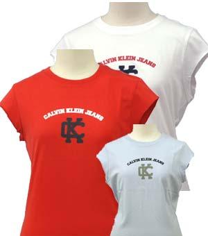 Calvin Klein Jeans カルバンクラインレディ-ス ロゴ フレンチ袖 Tシャツ
