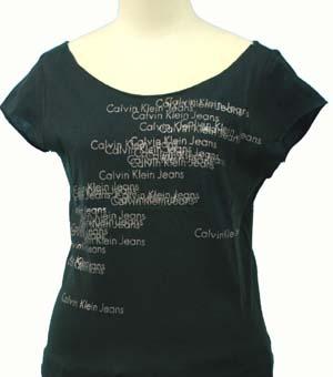 全商品10%OFFクーポン|Calvin Klein Jeans カルバンクラインレディ-ス ロゴ総柄 ラメプリント フレンチ袖 Tシャツ