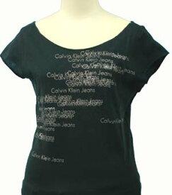 【全商品13%OFFクーポン】Calvin Klein Jeans カルバンクラインレディ-ス ロゴ総柄 ラメプリント フレンチ袖 Tシャツ