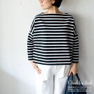TraditionalWeatherwear/トラディショナルウェザーウェアBIGMARINEBOATNECKSHIRT/BMBビッグマリンボートネックシャツブラック×ホワイト