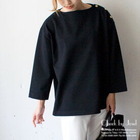 Traditional Weatherwear / トラディショナルウェザーウェア BOY FRIEND CREW NECK PULL OVER with DOT BUTTON / ボーイフレンド クルーネック プルオーバー ウィズ ドットボタン ブラック