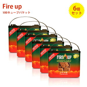着火剤 ファイヤーアップ 100キューブ×6バケットセット 固形燃料 薪ストーブ 着火材 アウトドア バーベキュー ファイアーアップ Fire up 【送料無料】