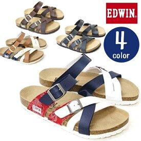 【送料無料】 EDWIN エドウィン クロスバンド フットベットサンダル EW9166 ブラック ブラウン トリコロール 25cm〜28cm メンズ
