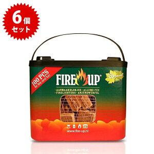 【送料無料】 Fire up ファイヤーアップ バケット 100キューブ×6箱セット 着火剤 燃料 薪 アウトドア バーベキュー ファイヤーアップ