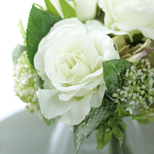 造花バラウィディングブーケインテリアグリーン花束ヴァンローズブーケクリームグリーンローズ径8巾18×高さ20cm