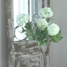 【メール便400円★】造花スノーボールホワイトアンティークパーツ花房径6〜9×高さ56cm