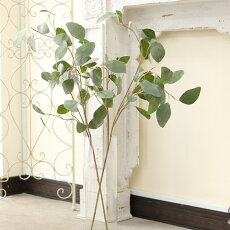 造花枝木ユーカリナチュラルインテリアグリーンフェイクグリーンアティフィシャルフラワー/葉7〜9cm高さ92cm/1本1月07日(月)入荷予定