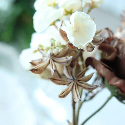 【メール便400円★】ミニブーケ花束造花バラウェディングブーケ花束クラシックローズブーケブラウンベージュ花径7〜10巾14×高さ22cm