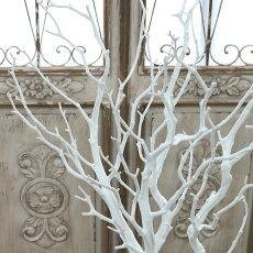 枝木ウェルカムツリーフェイクグリーンブランチ1本/白L103cm造花