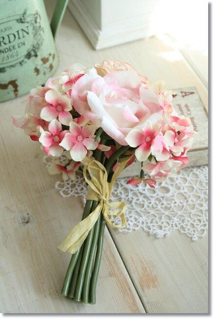 【メール便340円★】造花 花束 ピンク トスブーケ ウィディングブーケ ミックス(クリームピンク)