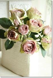 【メール便340円★】造花 おしゃれ バラ プリンセスローズ(1本)ココアグリーン 花径2.5〜6×高さ39cm