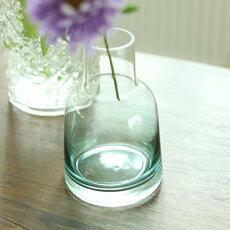花瓶おしゃれ一輪挿しフラワーベースガラスボトルブルーΦ9cm×高さ13.5cm