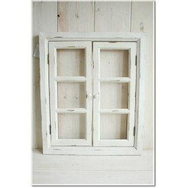 アンティーク風 雑貨 ウィンドウフレーム L ホワイト アンティーク風オープンドア 巾60×奥4×高75cm