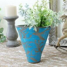 花瓶おしゃれ青鳥アンティーク風雑貨ラグーンブルーベース巾17.5×奥行7.5×高さ17.5cm