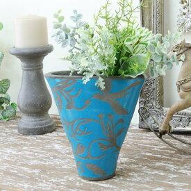 花瓶 おしゃれ ヨーロピアン 青 鳥 アンティーク調ラグーンブルーベース巾17.5×奥行7.5×高さ17.5cm