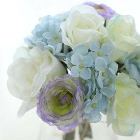 造花 インテリアグリーン 花束 造花 ブーケ ブルーホワイト 花材 バラ ウエディングブーケ 花束 花径5〜8 Φ18 丈20cm