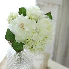 開始2時間限定!10%OFFクーポン4日20時スタート造花インテリアグリーン造花花束ブーケナチュラルバラウェディングブーケトスブーケ花材ピュアホワイトブーケ丈27×巾20cm