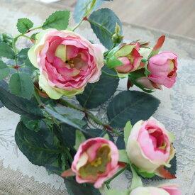 バラ 造花 ミニバラ アンティーク インテリア 造花 ミニローズ ピンクグリーン【メール便無料★】花径1.5〜4cm×長さ40cm