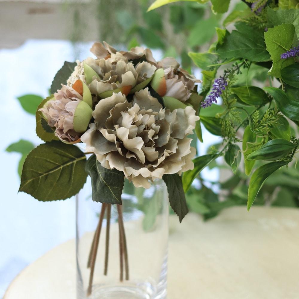 花束 アンティーク風 造花 ダリア グレーミックスブーケ インテリアグリーン フェイクグリーン 直径17×高さ28cm