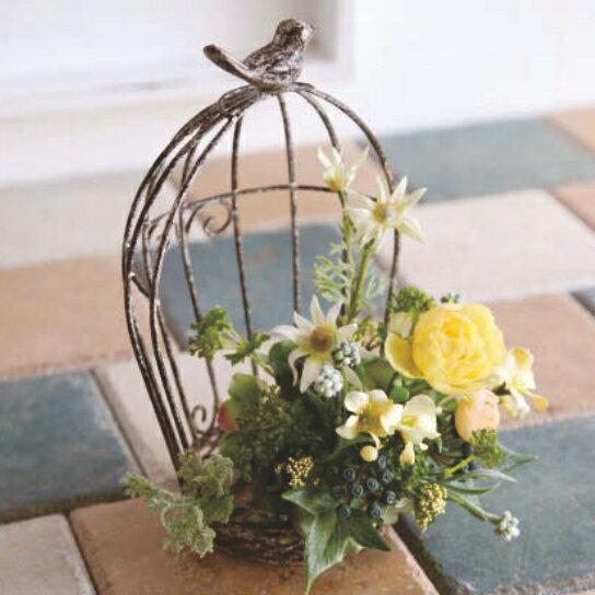 鉢カバーアンティーク風 プランターカバー 鳥かご デミ(ミニ) ホワイト 巾13.5×奥行11.5×高さ22.5cm