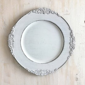 トレイ シャビーシック ホワイト プラスチック 皿 トレイ アクセサリートレイ 小物入れ アンティーク 雑貨シャビートレイ/アンティークホワイト直径31.5cm