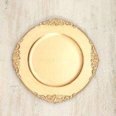 トレイシャビーシックゴールドプラスチック皿トレイアクセサリートレイ小物入れアンティーク雑貨シャビートレイ/アンティークホワイト直径31.5cm
