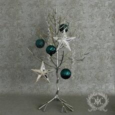 木ツリークリスマスツリーオーナメント飾り店舗什器1点/シルバー/折り畳み式巾47cm×高さ63cm