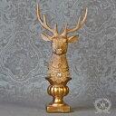 シャビーゴールドトナカイヘッドの置物 オブジェ アンティーク風雑貨 クリスマスオーナメント 巾14cm×奥行11cm×高さ…