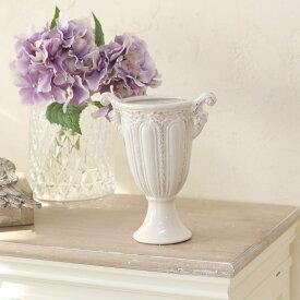 花瓶 おしゃれ 陶器 白 アンティーク調 一輪挿し プリンセスベース ML ホワイト 巾10×奥行15.5×高さ19cm