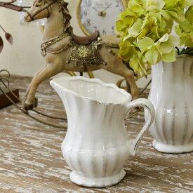 花瓶 おしゃれ 陶器 白 アンティーク風 雑貨 陶器 花瓶 ファミニン プリンセスベース S ホワイト 13×9×高さ12cm