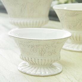 アンティーク風 雑貨 陶器 花瓶 カントリーベース S ホワイト 巾12×奥行6×高さ8cm