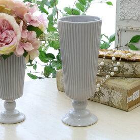 花瓶 おしゃれ 陶器 フレンチ フレンチカントリー アンティーク風 フラワーベース アンティーク調 フレンチベース アンティークグレー Φ11×高さ27cm