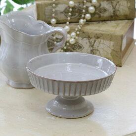 花瓶 おしゃれ 陶器 フレンチ フレンチカントリー アンティーク風 フラワーベース アンティーク調 フレンチベース コンポート アンティークグレー Φ13.5×高さ7cm