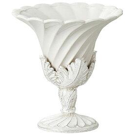 陶器 花瓶 モダンセラミックベース ヘリテージ シェルベース ホワイト Φ17×高さ18cm アンティーク風 雑貨