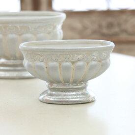 アンティーク風 雑貨 陶器 花瓶 トラディショナルベース ビクトリアンオーバル アンティークシルバー 巾16×奥行7.5×高さ9.5cm