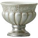 アンティーク風 雑貨 陶器 花瓶 トラディショナルベース ビクトリアン アンティークシルバー Φ13×高さ11.5cm