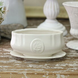 花瓶 おしゃれ 陶器 白 アンティーク調 一輪挿し プリンセスベース M ホワイト 直径15×奥行6.6×高さ7.5cm