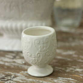 花瓶 おしゃれ 陶器 白 アンティーク調 一輪挿し プリンセスベース S ホワイト 直径5.5×高さ7cm
