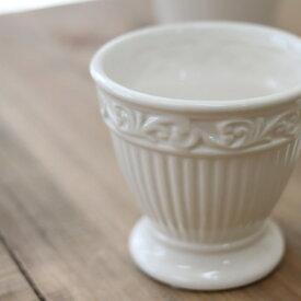 アンティーク風 雑貨 陶器 花瓶 ファミニンベース ホワイト Φ8×高さ7.5cm