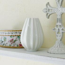 アンティーク風 雑貨 陶器 花瓶 ファミニン プリーツベース ホワイト Φ7.5×高さ10cm