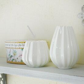 アンティーク風 雑貨 陶器 花瓶 ファミニン プリーツベース ホワイト Φ7.5×高さ6.5cm