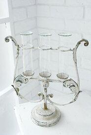 ブランシャビーシック3連チューブベース ガラス花瓶 おしゃれ 一輪挿し アンティーク風 雑貨 コベントガーデン 巾30.5cm×奥行13.2cm×高さ38.5cm